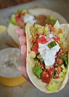 Ground Turkey Greek Taco Recipe, www.mountainmamacooks.com