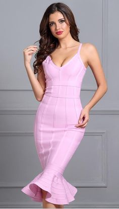 PRODUCT DETAILS: Item Type: Dresses Neckline: V-Neck Sleeve Style: Spaghetti Strap Waistline: Natural Dresses Length: Knee-Length Silhouette: Trumpet / Mermaid Decoration: Zippers Fabric Type: Knitting Material: Washing: Dry Cleaning Pink Bandage Dress, Pink Dress, Bodycon Dress, Party Dresses For Women, Club Dresses, Ladies Dresses, Mini Dresses, Dresses Uk, Pretty Dresses