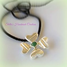 Four leaf clover hearts necklace Lucky charm necklace 925