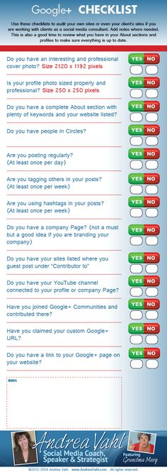 WWW.incometriggerconsulting.com. Here is another great one for your collection. Google+ Checklist [Infographic]