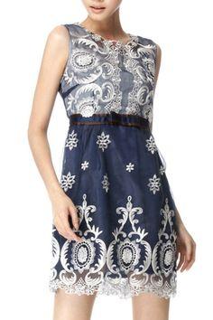 Vintage 7/10 Sleeve Embroidered Dress OASAP.com