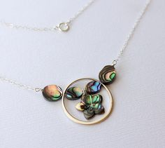 Abalone Plumeria Silver Circle Pendant Necklace, Paua Frangipani Silver Pendant Necklace, Hawaiian Plumeria Shell Necklace, Paua Plumeria by fortheloveofplumeria on Etsy