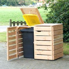 Image result for how to build out of pallets for carbage cans