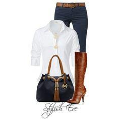 White button front top, dark blue denim, Brown heeled boots