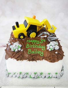 This Digger cake is a lovely cake for a digger fan. #diggercake