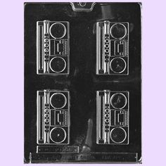 A fun boom box mold for use with candy melts, chocolate and even soap making! This mold makes approximately 32 pieces per pound of chocolate. Check out our Basic Chocolate Molding Tutorial for detaile
