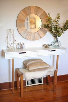 If you're looking for a chic alternative to your standard vanity, check out this super-glam creation. The blogger paired the EKBY ALEX shelving with old-school wooden legs and a sheepskin-covered bench to create a gorgeous place to spend your mornings. See more at A New Bloom »