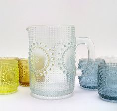 I adore Grapponia glassware by Nanny Still (for Riihimäen Lasi, Finland). It's from 1970's, made in many lovely colors.