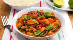 This fragrant #vegan Thai vegetable red curry recipe is minimal effort for maximum flavour. This is one of those extremely flexible dishes, you can either stick to the recipe or make it go a bit further by clearing out any spare vegetables in the fridge. And, because it's meat and dairy free, everyone can grab a bowl and tuck in.