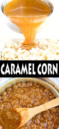 Amish Caramel Corn - Dry roasted peanuts along with perfectly coated caramel popcorn, the perfect sweet and salty snack! Popcorn Recipes, Snack Recipes, Dessert Recipes, Amish Recipes, Fun Desserts, Delicious Desserts, Yummy Food, Chocolate Covered Treats, Bark Recipe