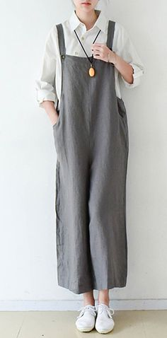 Gray cozy cotton jumpsuit pants plus szie linen pants wide leg