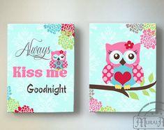 Owl Canvas Wall Art Baby Girl Owl Nursery Owl Nursery by MuralMAX