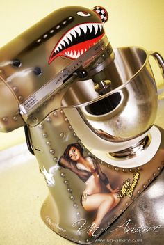 Love this Pin Up Bomber Custom Painted KitchenAid Mixer