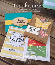 Tin of Cards Project Kit on Studio Evans using Stampin' Up! products. Carolina Evans 2015 #stampinup