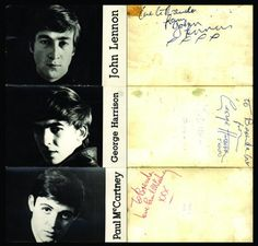 The Beatles (Astrid Kirchherr)   A very rare set of three signed publicity postcards  A set of three early publicity postcards illustrated with individual black and white, head and shoulders length portraits by celebrity photographer Astrid Kirchherr.  The images of John Lennon, Paul McCartney and George Harrison are circa 1962.