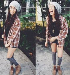 basically the ideal hipster outfit // denim shorts, thigh highs, ankle boots, flannel shirt, and a slouchy beanie