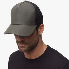 NEW 2016: James Perse Army Green Coated Canvas Trucker Hat
