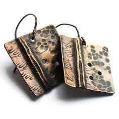 Hand Forged Square Copper Earrings £17.00