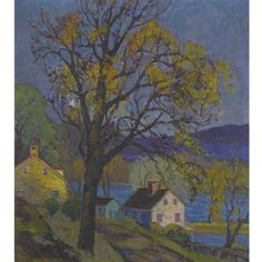 """""""Houses along the Delaware,"""" Fern Isabel Coppedge, oil on canvas, 20 x 18"""", private collection."""