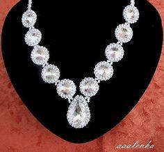 Beaded Necklace With Swarovski Rivoli