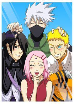 Yay, new Team 7 photo with grown-up Naruto, Sasuke and Sakura with Kakashi.   Sasuke though, he's probably saying to Kakashi: I'm not a kid anymore.