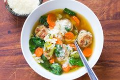 Turkey meatballs in an easy soup with spinach and orzo! Make the meatballs ahead and freeze for a quick weeknight meal whenever you need one.