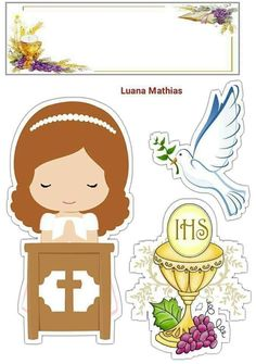 Cute Girl in Her Fist Communion Free Printable Cake Toppers for First Communion. Here you have some Free Printable Cake Toppers . First Communion Banner, First Holy Communion Cake, First Communion Decorations, Communion Gifts, Religion, Communion Invitations, Catholic Kids, Tissue Paper Flowers, Paper Dolls