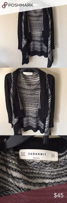 "ZARA⚜️Knit cardigan Black & white striped size M ZARA⚜️Knit cardigan Black & white striped size M Good condition   Length 30""  Bust 38"" Zara Sweaters Cardigans"