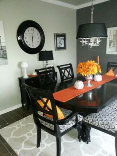 Orange Gray Silver Black Dining Room