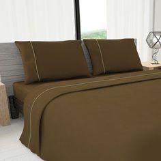 Livingston Home Novelty 625 Thread Count Cotton Sheet Set Size: Queen, Color: Mocha