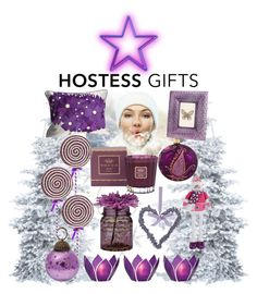 """pretty purple presents for the hostess"" by kc-spangler ❤ liked on Polyvore featuring interior, interiors, interior design, home, home decor, interior decorating, Stonebriar Collection, Tocca, Cultural Intrigue and M&Co"