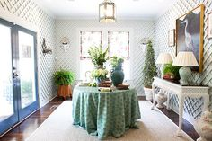 JAMES Showroom in Austin, TX represents Coleen & Company's full line.  Shown here the Elsie Lantern in the Trellis Room.