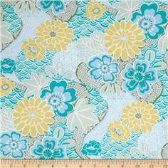 Annette Tatum Soliel Floral Garden Turquoise - Discount Designer Fabric - Fabric.com