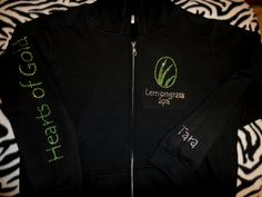 Front and sleeve of Lemongrass Spa zip front hoodie!