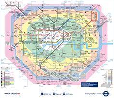 Transportes públicos de Londres e mapa das zonas
