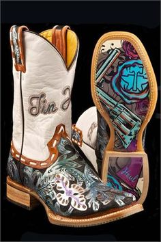 Tin Haul Boots Women's Whip It Guns & Roses Cowgirl Boots