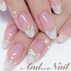 french nails acrylic Tips French Nails Elegant, French Nail Art, French Tip Nails, Nail Polish Designs, Nail Art Designs, Bridal Nails Designs, Stone Nail Art, Kawaii Nails, Bride Nails