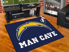 """Celebrate your fandom with a Man Cave mat from Sports Licensing Solutions! Mat features officially licensed team logo with """"MAN CAVE"""" in big bold letters. 100% nylon carpet features vibrant true team"""