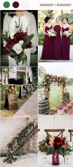 Greenry and burgundy fall winter wedding color ideas