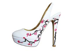 Wedding Shoes  Cherry Blossom includes pink by ThePaintedShoe, $97.00