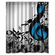 Wonderfull Music Notes I Love Music Bathroom Waterproof Shower Curtain  60(w)x72(