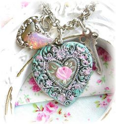 Victorian Style Hand Painted Pink Shabby Rose Charm Bracelet Opal by TheVintageHeart