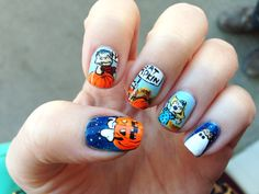 """""""It's the Great Pumpkin, Charlie Brown"""" Halloween nails.  Snoopy on the pumpkin is my favorite!       (via Ms. Lazybones & The Morning Man)"""