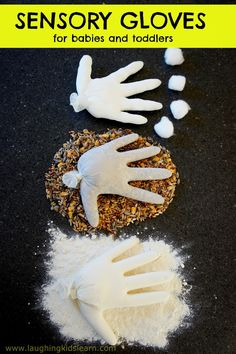 Sensory Project(Physical) - Babies and toddlers will have fun with these sensory gloves. With active supervision they will be able to use them to develop their sense of touch and they can be filled with various safe items found around the house. Baby Sensory, Sensory Activities, Sensory Play, Infant Activities, Preschool Activities, Toddler Classroom, Toddler Preschool, Toddler Crafts, Toddler Play