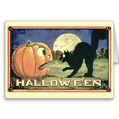 Black Cat and Pumpkin Halloween Card