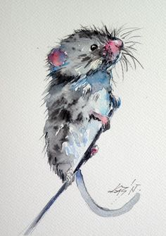 ARTFINDER: Mouse by Kovács Anna Brigitta - Original watercolour painting on high quality watercolour paper. I love landscapes, still life, nature and wildlife, lights and shadows, colorful sight. Thes...