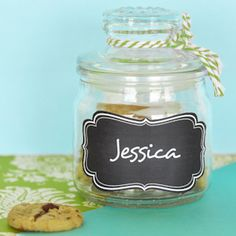 Mini Cookie Jar Favors with Vinyl Chalkboard Labels (Event Blossom EB2393CL) | Buy at Wedding Favors Unlimited (https://www.weddingfavorsunlimited.com/mini_cookie_jar_favors_with_vinyl_chalkboard_labels.html).