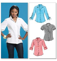 Sewing pattern, custom design, couture clothes, McCall's: fitted button-up shirt with alternate sleeves M6035