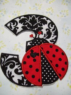 Iron On Applique Ladybug Birthday Numbers by bigblackdogdesigns