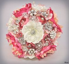 Magnolia Bling bouquet in pinks ... by Blue Petyl #wedding #bouquet #brooch #pink #magnolia #broochbouquet